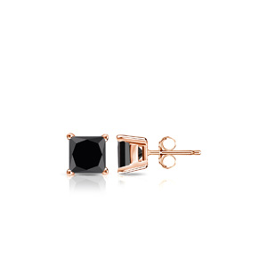 Certified 1.00 cttw Princess Black Diamond Stud Earrings in 14k Rose Gold 4-Prong Basket (AAA)
