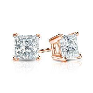 Certified 0.75 cttw Princess Diamond Stud Earrings in 14k Rose Gold 4-Prong Basket (I-J, I1)