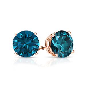 Certified 0.25 cttw Round Blue Diamond Stud Earrings in 14k Rose Gold 4-Prong Basket (Blue, I1-I2)