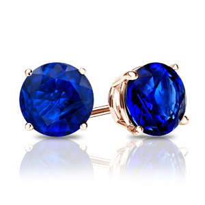 Certified 0.75 cttw Round Blue Sapphire Gemstone Stud Earrings in 14k Rose Gold 4-Prong Basket (Blue, AAA)
