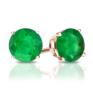 Certified 0.33 cttw Round Green Emerald Gemstone Stud Earrings in 14k Rose Gold 4-Prong Basket (Green, AAA)