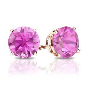 Certified 14k Rose Gold 4-Prong Basket Round Pink Sapphire Gemstone Stud Earrings 0.25 ct. tw. (Pink, AAA)
