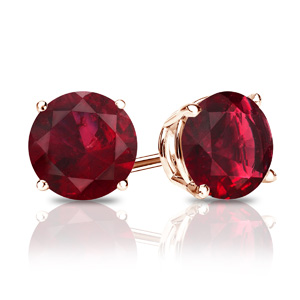 Certified 0.40 cttw Round Ruby Gemstone Stud Earrings in 14k Rose Gold 4-Prong Basket (Red, AAA)