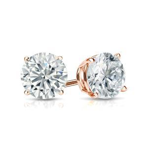 Certified 0.25 cttw Round Diamond Stud Earrings in 14k Rose Gold 4-Prong Basket (I-J, I1)