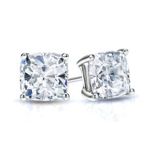 Certified 1.50 cttw Cushion Diamond Stud Earrings in 14k White Gold 4-Prong Basket (I-J, I1)