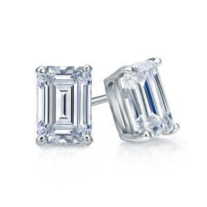 Certified 0.50 cttw Emerald Diamond Stud Earrings in 14k White Gold 4-Prong Basket (I-J, I1)