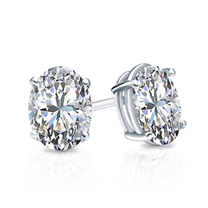 Certified 1.50 cttw Oval Diamond Stud Earrings in 14k White Gold 4-Prong Basket (G-H, VS)