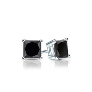 Certified 0.50 cttw Princess Black Diamond Stud Earrings in 14k White Gold 4-Prong Basket (AAA)