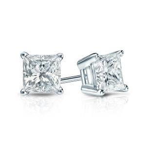Certified 1.50 cttw Princess Diamond Stud Earrings in 14k White Gold 4-Prong Basket (I-J, I1)