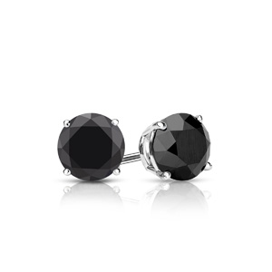 Certified 0.25 cttw Round Black Diamond Stud Earrings in 14k White Gold 4-Prong Basket (AAA)