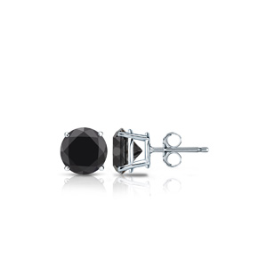 Certified 14k White Gold 4-Prong Basket Round Black Diamond Stud Earrings 0.25 ct. tw. (AAA)