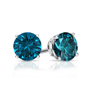 Certified 0.25 cttw Round Blue Diamond Stud Earrings in 18k White Gold 4-Prong Basket (Blue, SI1-SI2)