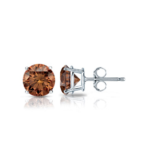 Certified 14k White Gold 4-Prong Basket Round Brown Diamond Stud Earrings 0.25 ct. tw. (Brown, SI1-SI2)