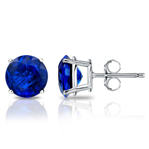 Certified 14k White Gold 4-Prong Basket Round Blue Sapphire Gemstone Stud Earrings 0.25 ct. tw. (Blue, AAA)
