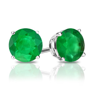 Certified 1.00 cttw Round Green Emerald Gemstone Stud Earrings in 14k White Gold 4-Prong Basket (Green, AAA)