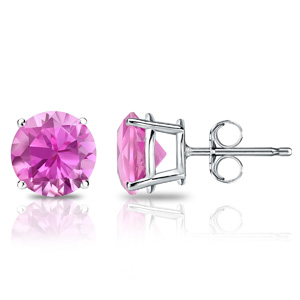 Certified 14k White Gold 4-Prong Basket Round Pink Sapphire Gemstone Stud Earrings 0.25 ct. tw. (Pink, AAA)