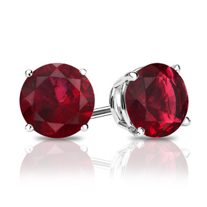 Certified 0.25 cttw Round Ruby Gemstone Stud Earrings in Platinum 4-Prong Basket (Red, AAA)