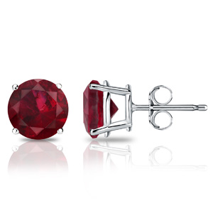 Certified 14k White Gold 4-Prong Basket Round Ruby Gemstone Stud Earrings 0.25 ct. tw. (Red, AAA)