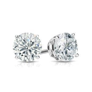 Certified 1.00 cttw Round Diamond Stud Earrings in 14k White Gold 4-Prong Basket (G-H, VS)