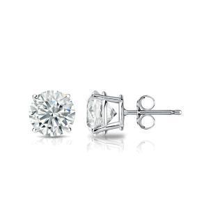 Certified 14k White Gold 4-Prong Basket Round Diamond Stud Earrings 0.25 ct. tw. (I-J, I1)