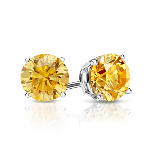 Certified 0.25 cttw Round Yellow Diamond Stud Earrings in Platinum 4-Prong Basket (Yellow, SI1-SI2)