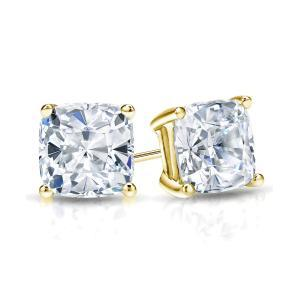 Certified 1.00 cttw Cushion Diamond Stud Earrings in 14k Yellow Gold 4-Prong Basket (G-H, VS)