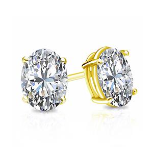 Certified 0.50 cttw Oval Diamond Stud Earrings in 18k Yellow Gold 4-Prong Basket (I-J, I1)