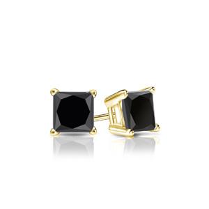 Certified 3.00 cttw Princess Black Diamond Stud Earrings in 14k Yellow Gold 4-Prong Basket (AAA)