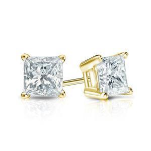 Certified 0.50 cttw Princess Diamond Stud Earrings in 14k Yellow Gold 4-Prong Basket (I-J, I1)