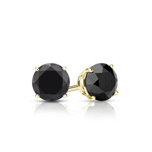 Certified 0.25 cttw Round Black Diamond Stud Earrings in 14k Yellow Gold 4-Prong Basket (AAA)