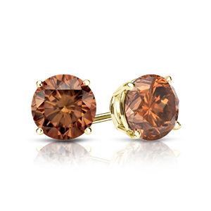 Certified 0.25 cttw Round Brown Diamond Stud Earrings in 14k Yellow Gold 4-Prong Basket (Brown, SI1-SI2)