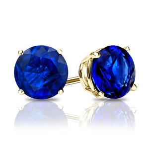 Certified 0.33 cttw Round Blue Sapphire Gemstone Stud Earrings in 14k Yellow Gold 4-Prong Basket (Blue, AAA)