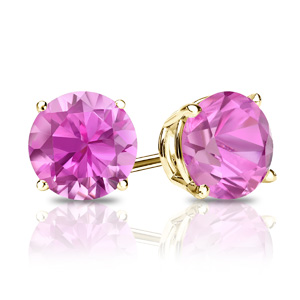 Certified 1.25 cttw Round Pink Sapphire Gemstone Stud Earrings in 14k Yellow Gold 4-Prong Basket (Pink, AAA)