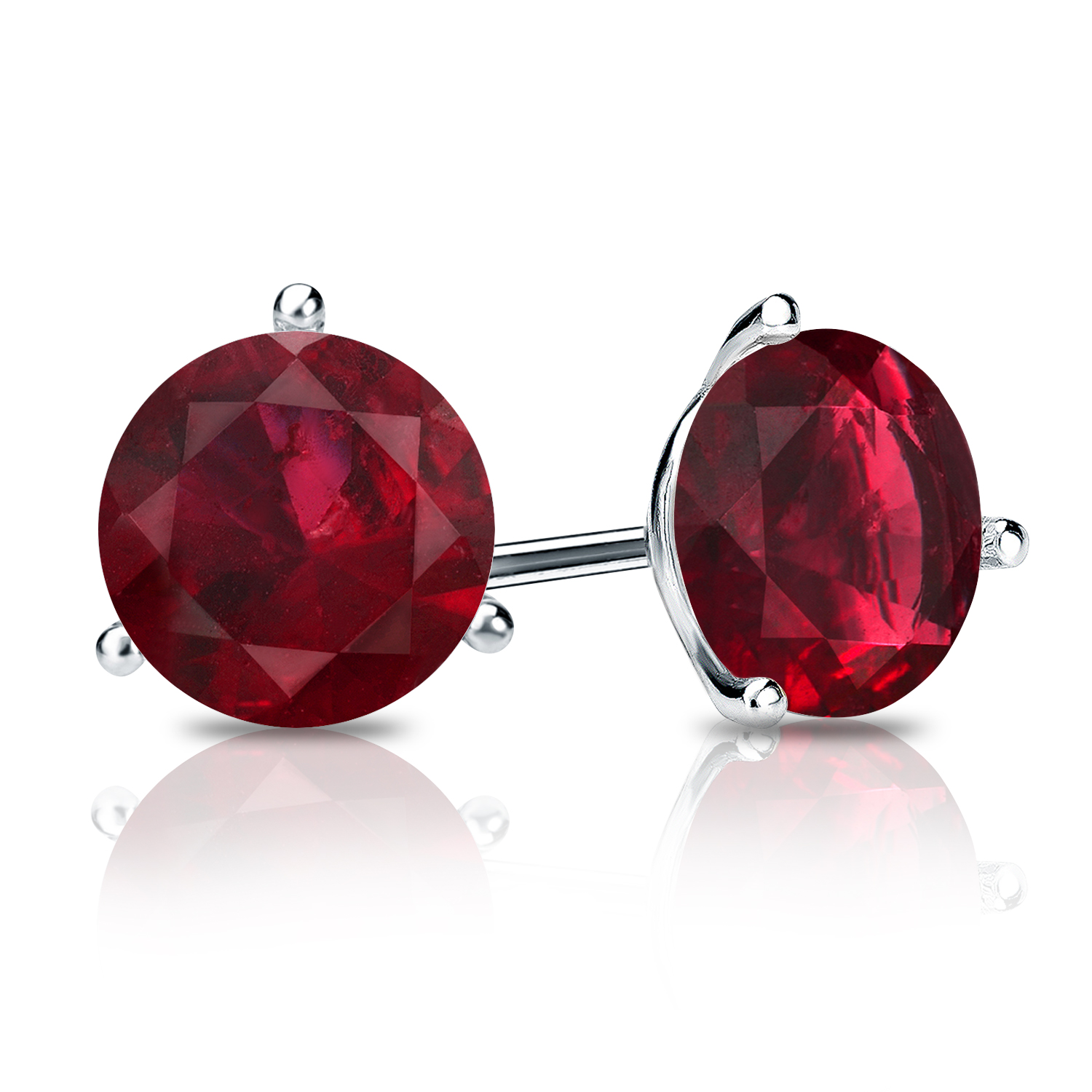 Certified 1.00 cttw Round Ruby Gemstone Stud Earrings in 14k White Gold 3-Prong Martini (Red, AAA)