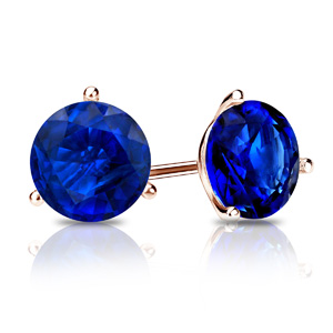 Certified 0.33 cttw Round Blue Sapphire Gemstone Stud Earrings in 14k Rose Gold 3-Prong Martini (Blue, AAA)