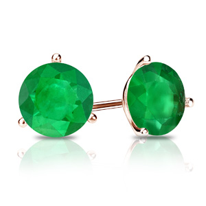Certified 0.25 cttw Round Green Emerald Gemstone Stud Earrings in 14k Rose Gold 3-Prong Martini (Green, AAA)