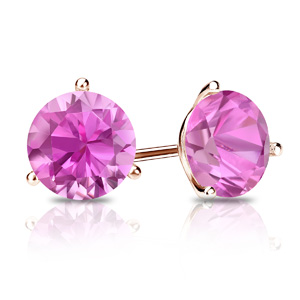 Certified 0.25 cttw Round Pink Sapphire Gemstone Stud Earrings in 14k Rose Gold 3-Prong Martini (Pink, AAA)