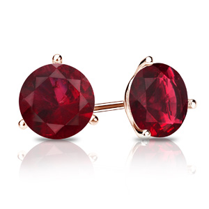 Certified 0.50 cttw Round Ruby Gemstone Stud Earrings in 14k Rose Gold 3-Prong Martini (Red, AAA)