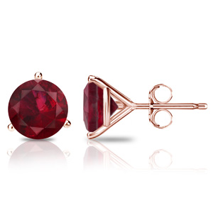 Certified 0.40 cttw Round Ruby Gemstone Stud Earrings in 14k Rose Gold 3-Prong Martini (Red, AAA)