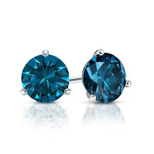 Certified 14k White Gold 3-Prong Martini Round Blue Diamond Stud Earrings 0.25 ct. tw. (Blue, I1-I2)