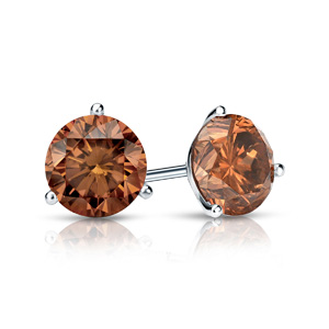 Certified 0.25 cttw Round Brown Diamond Stud Earrings in 14k White Gold 3-Prong Martini (Brown, SI1-SI2)