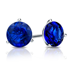 Certified 0.50 cttw Round Blue Sapphire Gemstone Stud Earrings in 14k White Gold 3-Prong Martini (Blue, AAA)