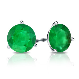 Certified 0.25 cttw Round Green Emerald Gemstone Stud Earrings in 14k White Gold 3-Prong Martini (Green, AAA)