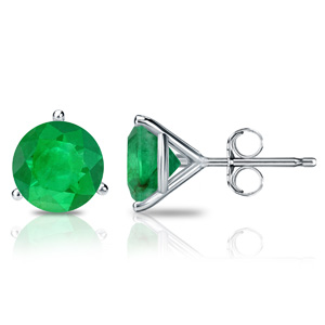 Certified 14k White Gold 3-Prong Martini Round Green Emerald Gemstone Stud Earrings 0.25 ct. tw. (Green, AAA)