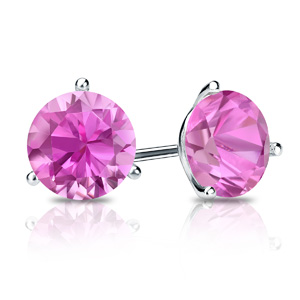Certified 14k White Gold 3-Prong Martini Round Pink Sapphire Gemstone Stud Earrings 0.25 ct. tw. (Pink, AAA)
