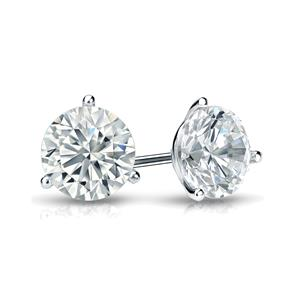 Certified 1.00 cttw Round Diamond Stud Earrings in 14k White Gold 3-Prong Martini (I-J, I1)