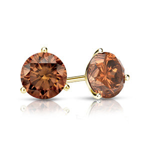 Certified 0.25 cttw Round Brown Diamond Stud Earrings in 14k Yellow Gold 3-Prong Martini (Brown, SI1-SI2)