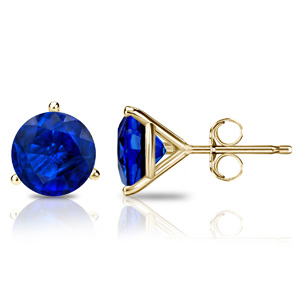 Certified 2.00 cttw Round Blue Sapphire Gemstone Stud Earrings in 14k Yellow Gold 3-Prong Martini (Blue, AAA)