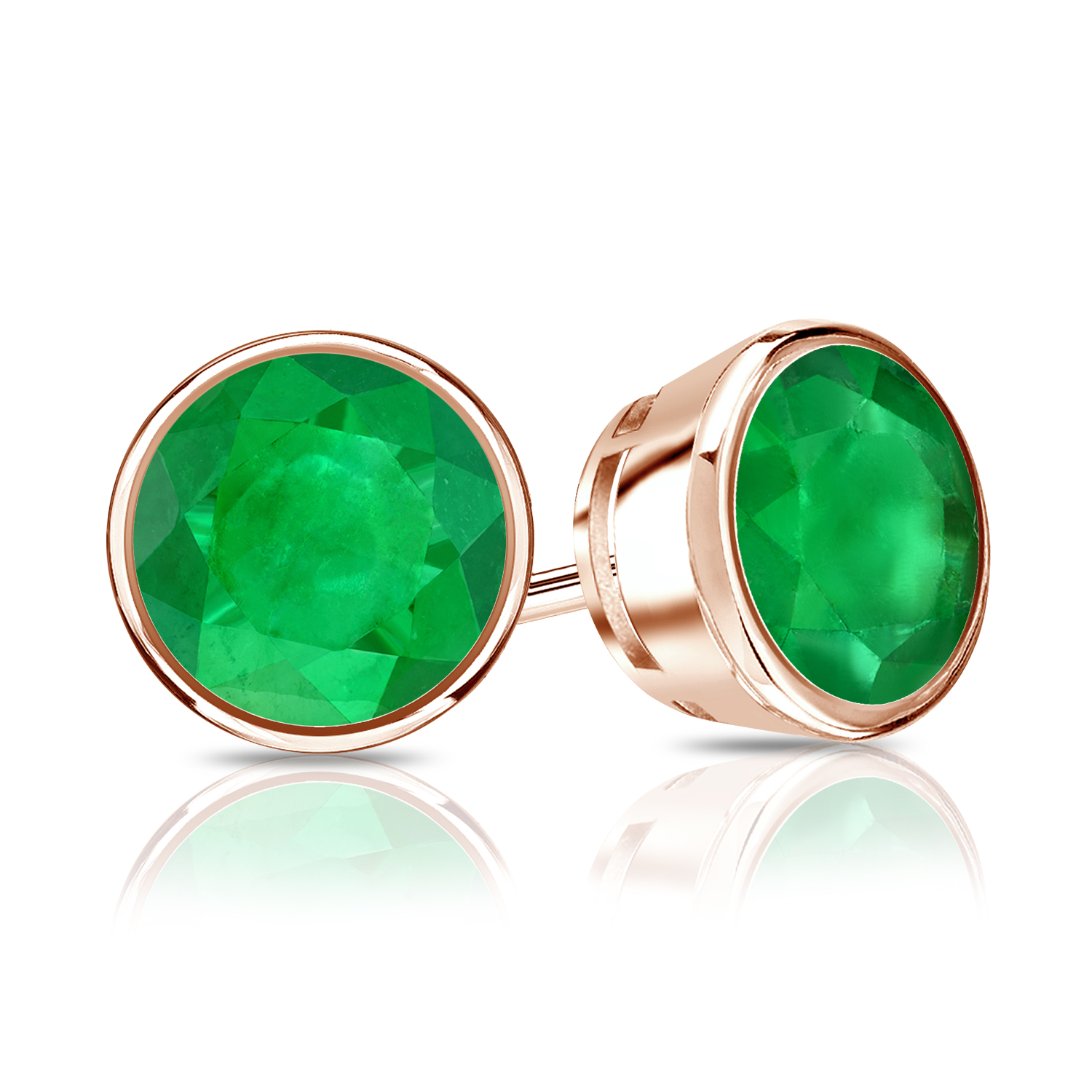Certified 0.33 cttw Round Green Emerald Gemstone Stud Earrings in 14k Rose Gold Bezel (Green, AAA)