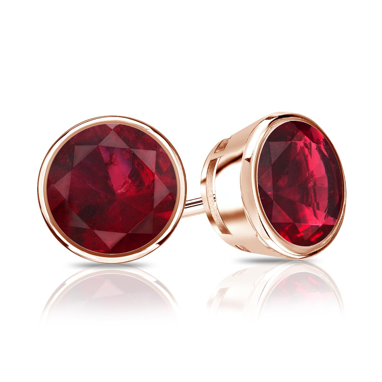 Certified 0.75 cttw Round Ruby Gemstone Stud Earrings in 14k Rose Gold Bezel (Red, AAA)